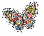 Ripped Torn Metal Butterfly Design With Colour JDM Style Stickerbomb Motif External Vinyl Car Sticker 125x90mm